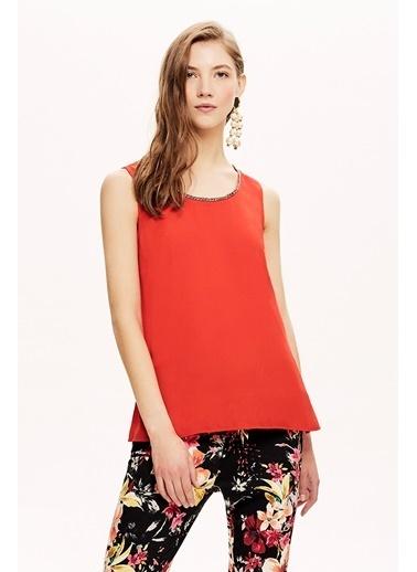 NaraMaxx Taş Detaylı Bluz Kırmızı